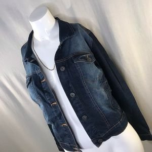 Dark denim jacket.